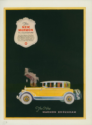 Advertisement, the new Marmon Brougham, Marmon Motor Car Co., Indianapolis, Indiana