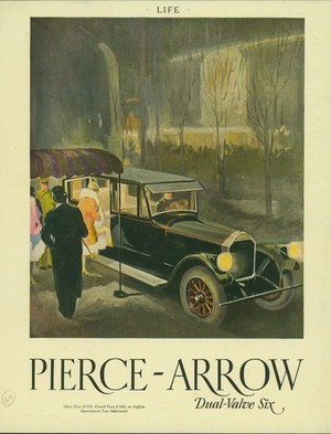 Advertisement, Pierce-Arrow dual-valve six, Pierce-Arrow Motor Car Company, Buffalo, New York