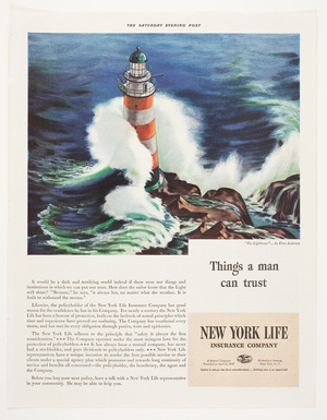 Advertisement, things a man can trust, New York Life Insurance Company, 51 Madison Avenue, New York, New York