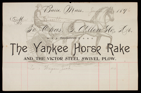 Billhead for Charles G. Allen & Co., manufacturers of The Yankee Horse Rake and the Victor Steel Swivel Plow, Barre, Mass., dated June 22, 1896