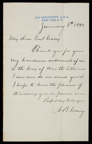 A. B. Carey to Thomas Lincoln Casey, January 8, 1890