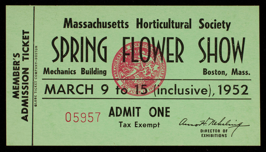 Trade card, spring flower show, March 9 to 15, 1952 inclusive, Massachusetts Horticultural Society, Mechanics Bldg., Boston, Mass.