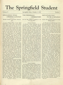 The Springfield Student (vol. 10, no. 1), October 1, 1920