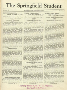 The Springfield Student (vol. 10, no. 3), October 15, 1920