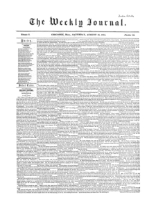Chicopee Weekly Journal, August 19, 1854