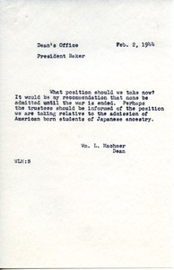 Memorandum from William L. Machmer to Hugh P. Baker