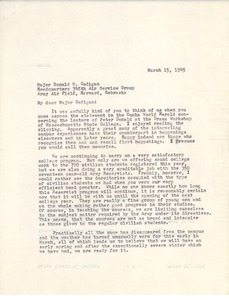 Letter from William L. Machmer to Donald W. Cadigan