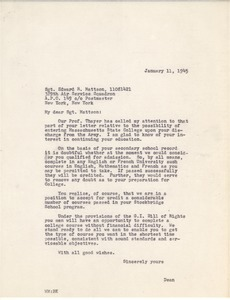 Letter from Massachusetts State College to Edward R. Mattson
