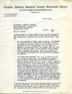 Letter from National Japanese American Student Relocation Council to Stockbridge School of Agriculture