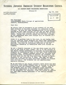 Letter from National Japanese American Student Relocation Council to Massachusetts State College