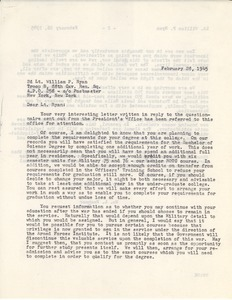 Letter from Massachusetts State College to William P. Ryan