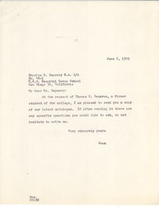 Letter from Massachusetts State College to Charles D. Duperry