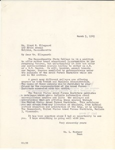 Letter from Massachusetts State College to Lloyd H. Ellegaard