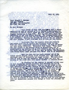 Letter from Massachusetts State College to Donald W. Cadigan