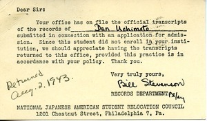 Postcard from National Japanese American Student Relocation Council to Massachusetts State College