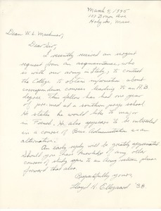 Letter from Lloyd H. Ellegaard to Massachusetts State College