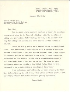 Letter from James L. Vial to Massachusetts State College