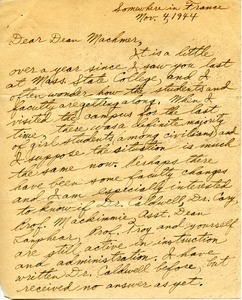 Letter from Bernard J. Beagarie to William L. Machmer