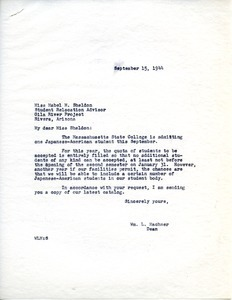 Letter from Massachusetts State College to War Relocation Authority