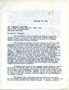 Letter from William L. Machmer to Bernard J. Beagarie