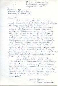 Letter from K. Carl Iwachita to Massachusetts State College