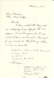 Letter from Robert E. Smith to Massachusetts State College