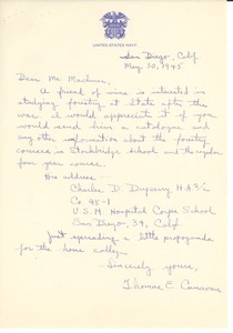 Letter from Thomas E. Canavan to Massachusetts State College