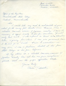 Letter from Oliver Takaichi to Massachusetts State College