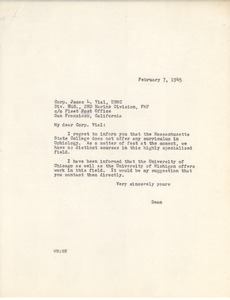 Letter from Massachusetts State College to James L. Vial