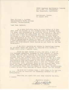Letter from Robert H. Clorite to Massachusetts State College