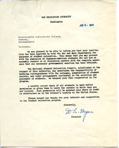 Letter from War Relocation Authority to Massachusetts State College