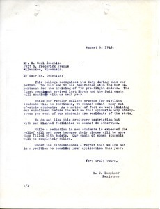 Letter from Massachusetts State College to K. Carl Iwachita