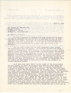 Letter from Massachusetts State College to Edward C. Edwards, Jr.
