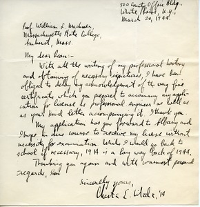 Letter from Chester E. Wheeler to William L. Machmer