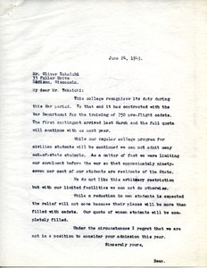 Letter from Massachusetts State College to Oliver Takaichi