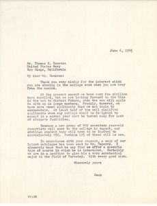 Letter from Massachusetts State College to Thomas E. Canavan