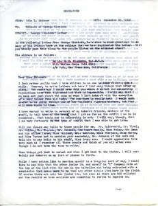 Memorandum from Edna L. Skinner to friends of George Sinnicks
