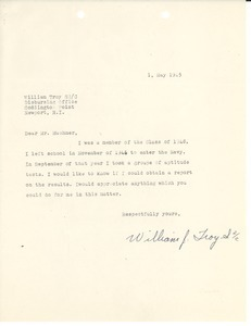 Letter from William J. Troy to Massachusetts State College