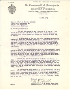 Letter from Massachusetts Department of Education to Robert H. Clorite