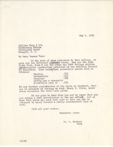 Letter from Massachusetts State College to William J. Troy