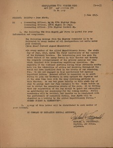 Memorandum from Headquarters 67th Figher Wing to commanding officers