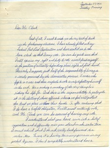 Letter from Frank W. Tencza to John G. Clark
