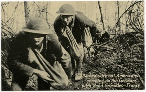 Barbed wire cut, Americans creeping on the Germans with hand grenades, France