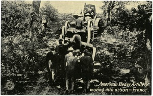 American heavy artillery moving into action, France