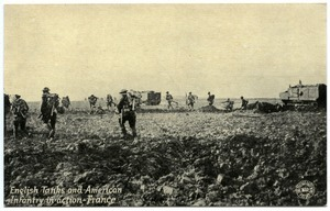 English tanks and American infantry in action, France