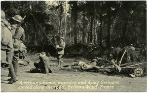 American advance, wounded and dying Germans spread along the road, Belleau Wood, France