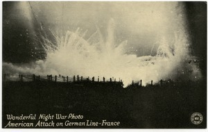 Wonderful night war photo: American attack on German line, France