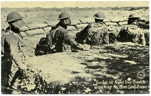 Yanks in front line trench watching no man's land, France