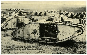 A flock of fighting English tanks ready for action with American troops, France
