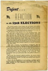 Defeat... reaction in the 1946 elections